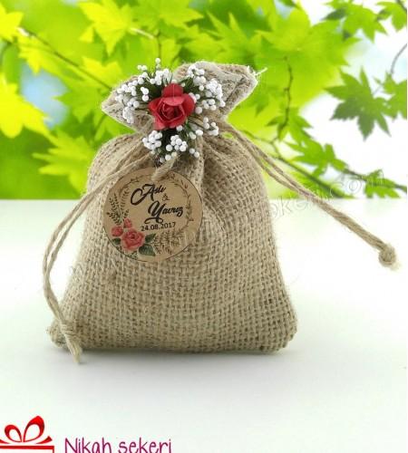 Hasır Lavanta Kesesi Kırmızı Çiçekli