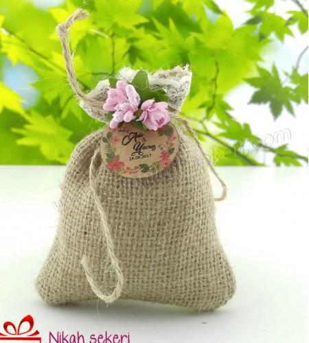 Hasır Lavanta Kesesi Pembe Çiçekli