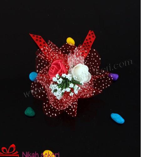 Kırmızı Tüllü Cam Nikah Şekeri C74