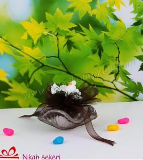 Kuşlu Papatya Cam Nikah Şekeri C79