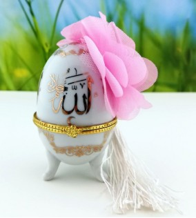 Ayetli Porselen Yumurta Nikah Şekeri
