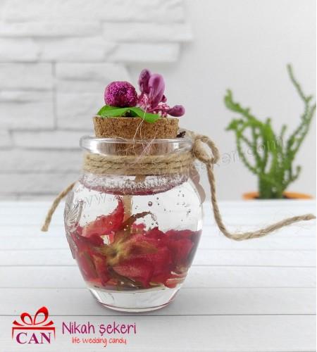 Kırmızı Güllü Jel Mum Nikah Şekeri C121