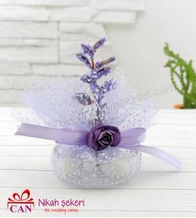 Cam Mumluk Mor Çiçekli Nikah Şekeri