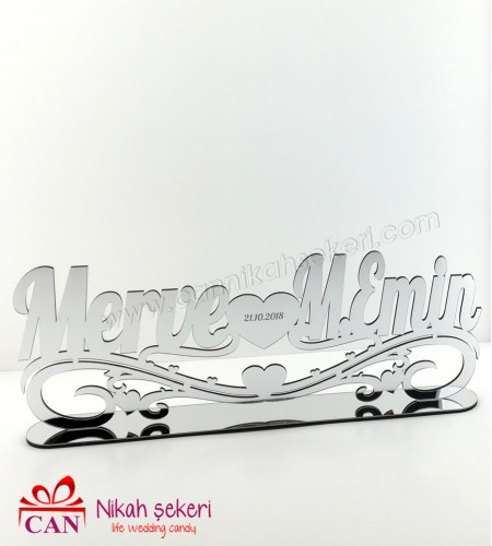 Gümüş Ayna Pleksi İsimlik