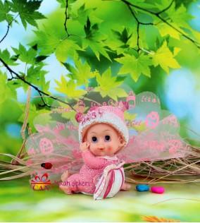 Pembe Büyük Kız Biblolu Bebek