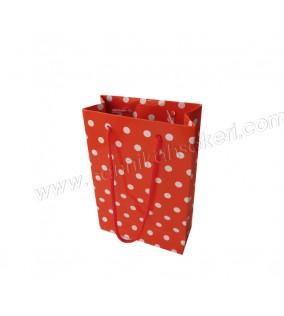 Çanta Karton Minik Boy Kırmızı Puanlı 12x17 25'li