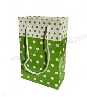 Çanta Karton Minik Boy Yeşil Puantiyeli 12x17 25'li