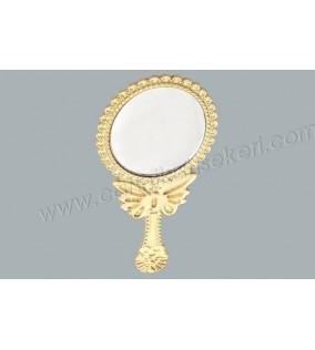 Ayna Oval Kelebekli Altın Renkli
