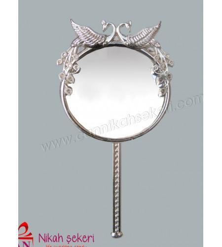 Ayna Tavus Kuşlu Gümüş Renkli