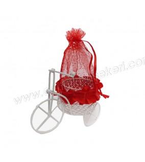 Bisiklet Sepetli Keseli Kırmızı 1 Adet