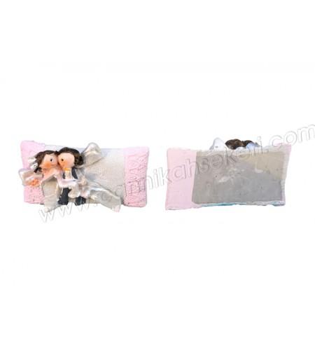 Gelin Damatlı Polyester Yastık Pembe