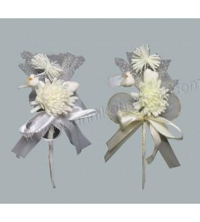 Hazır Süslenmiş Kuşlu Çiçek Beyaz 10'lu