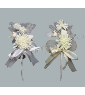 Hazır Süslenmiş Kuşlu Çiçek Krem 10'lu