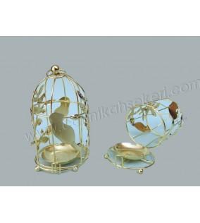 Kuş Kafesi Kuşlu Ve Mumluk Altın
