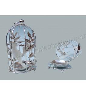 Kuş Kafesi Kuşlu Ve Mumluk Gümüş