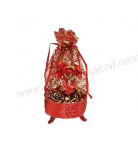 Kutu Ayaklı Keseli Büyük Boy Kırmızı