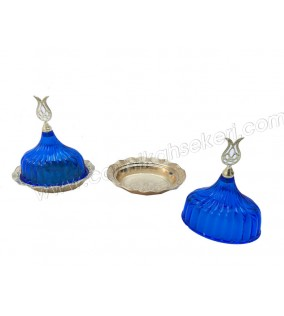 Lokumluk Kristal Kapaklı Oval Mavi 10 Adet