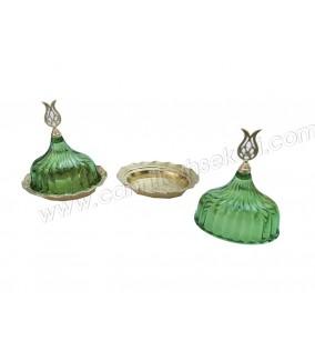 Lokumluk Kristal Kapaklı Oval Yeşil 10 Adet