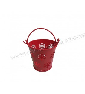 Metal Kova Kar Desenli Kırmızı