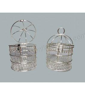 Metal Kuş Kafesi Gümüş Nikah Şekeri Malzemesi