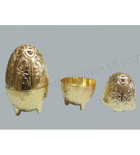 Metal Lokumluk Yumurta Şeklinde Altın