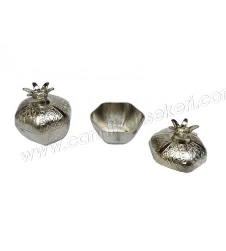 Metal Nar Lokumluk Küçük Gümüş