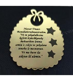 Nazar Duası Ayet Pleksi Lazer Kesimli 2mm Altın 10'lu