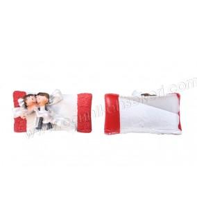 Polyester Gelin Damat Kırmızı Yastık