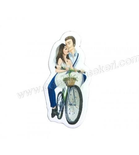 Sticker Gelin Damat Çiçekli Bisikletli 50'li