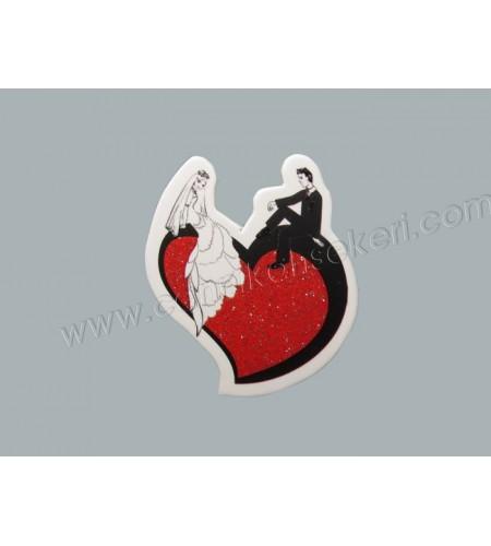 Sticker Gelin Damat Kalp Üstünde 50'li
