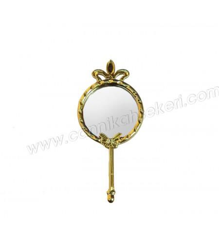 Taçlı ve Kelebekli Metal Ayna Altın
