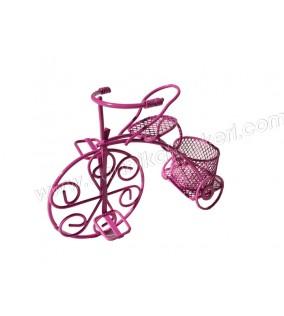 Tel Bisiklet Sepetli Fuşya
