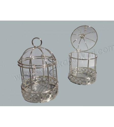 Tel Kuş Kafesi Gümüş Nikah Şekeri Malzemesi