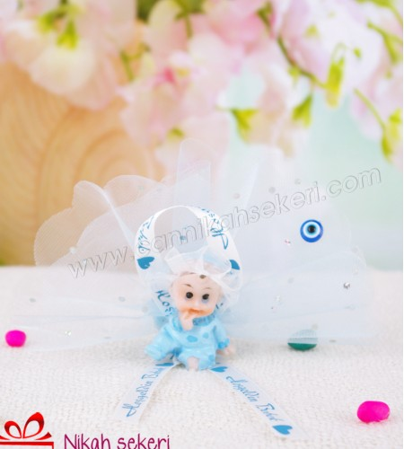 Çiçek Topu Oturan Erkek Bebek Şekeri