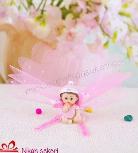 Çiçek Topu Oturan Kız Bebek Şekeri